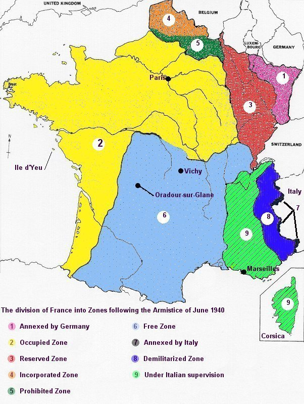 Map of france showing the partitions as of june 1940 gumiabroncs Gallery