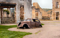 The car of Dr. Desourteaux on the Champ de Foire in Oradour-sur-Glane